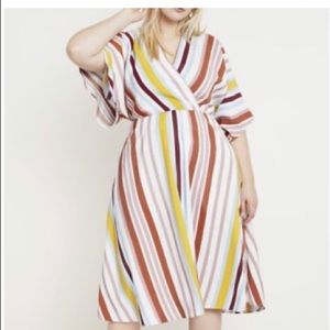 ELOQUII Women's Stripe Dolman Sleeve Dress